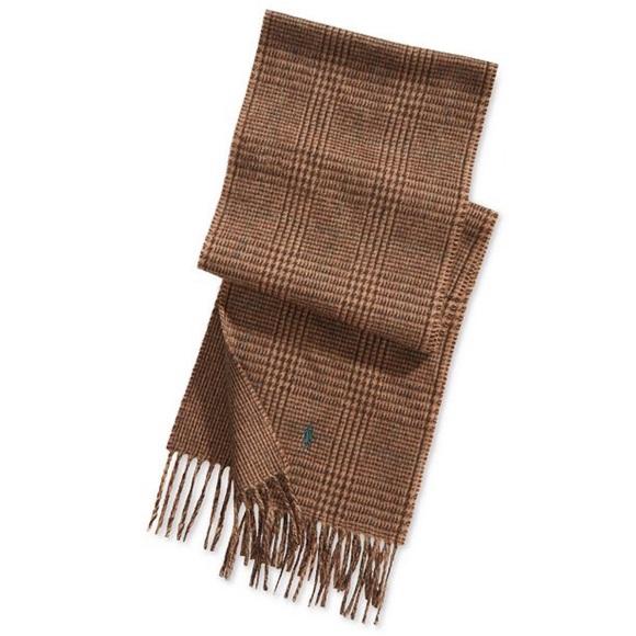 d18e2834 NWT Polo Ralph Lauren Brown Plaid Wool Scarf